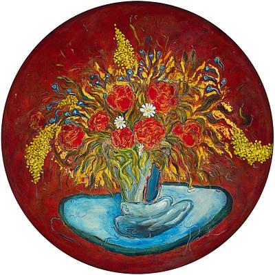 Le Bouquet Rouge - Original For Sale Art Print by Bernard RENOT