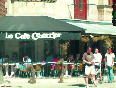 Cafes Painting - Le Cafe Cherrier Bistro Bar Au Coin Rue St Denis Montreal Terrace Restaurant Scene Carole Spandau by Carole Spandau