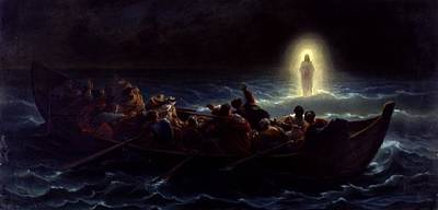 Jesus Walking On Water Painting - Le Christ Marchant Sur La Mer by Amedee Varint