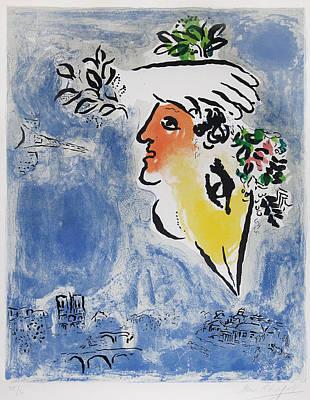 Selected Mixed Media - Le Ciel Bleu by Marc Chagall