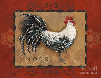 Rural Scenes Mixed Media - Le Coq Rooster Noir by Shari Warren
