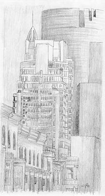 Montreal Streets Mixed Media - Le Crystal Sketch by Duane Gordon