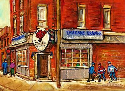 Street Scene Painting - Le Diable A Quatre Taverne Urbaine Psc Hockey Art Winter Scenes Montreal Street Scene Specialist  by Carole Spandau
