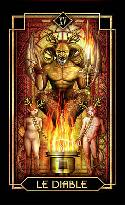 Tarot Wall Art - Drawing - Le Diable by MGL Meiklejohn Graphics Licensing