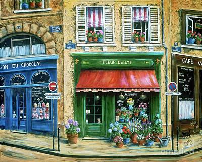 Window Painting - Le Fleuriste by Marilyn Dunlap