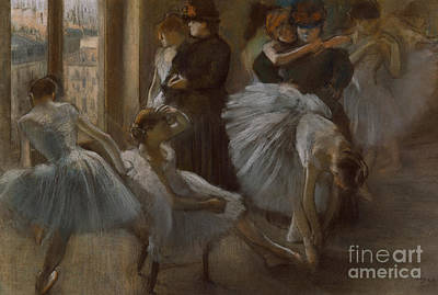 Practicing Painting - Le Foyer De L'opera by Edgar Degas