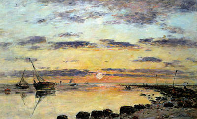 Rising Painting - Le Havre by Eugene Louis Boudin