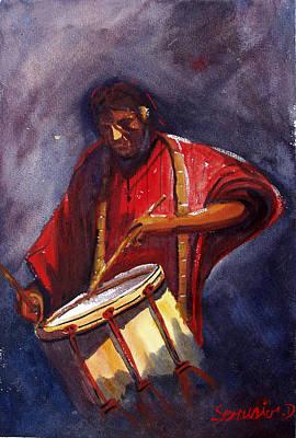 Aquarelle Painting - Le Joueur De Tambour  The Drum Player by Dominique Serusier