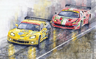 Racing Car Painting - 2011 Le Mans Gte Pro Chevrolette Corvette C6r Vs Ferrari 458 Italia by Yuriy  Shevchuk