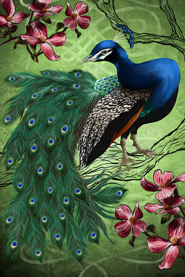 Scroll Digital Art - Le Paon Bleu by April Moen