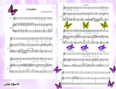 Music Score Mixed Media - Le Papillon-the Butterfly by Cibeles Gonzalez