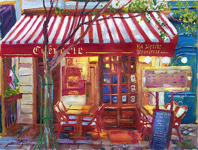 Awnings Painting - Le Petite Bistro by David Lloyd Glover