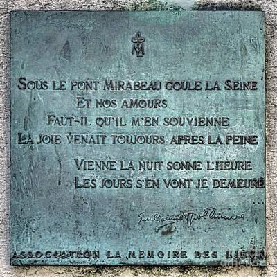 Amour Photograph - Le Pont Mirabeau by Olivier Le Queinec