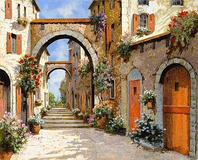 Red Flower Wall Art - Painting - Le Porte Rosse Sulla Strada by Guido Borelli