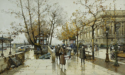 Louvre Drawing - Le Quai De Louvre Paris by Eugene Galien-Laloue