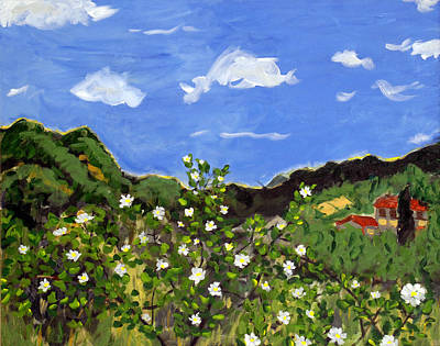Tuscan Hills Painting - Le Rose E Nube Biance by Seonaid  Ross
