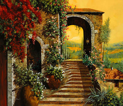 Typographic World Royalty Free Images - Le Scale E Il Cielo Giallo Royalty-Free Image by Guido Borelli