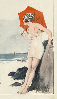 Drawing - Le Sourire 1919 1900s France Unbrellas by The Advertising Archives