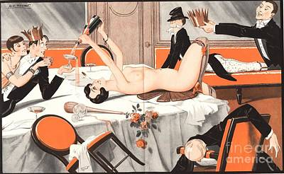 Drawing - Le Sourire 1920s France Erotica Drunks by The Advertising Archives