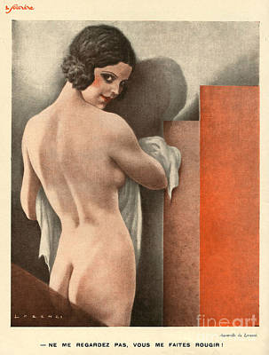 30s Drawing - Le Sourire  1930s France Erotica Naked by The Advertising Archives