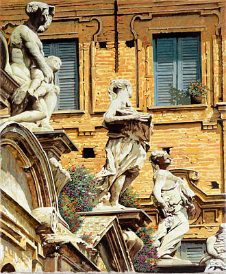 Villa Painting - Le Statue by Guido Borelli