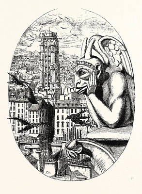 Grotesque Drawing - Le Stryge, The Grotesque At The Paris Notre Dame Cathedral by French School