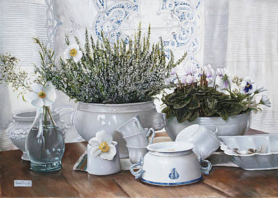 Still Life Royalty-Free and Rights-Managed Images - Le Tazze Rovesciate by Guido Borelli