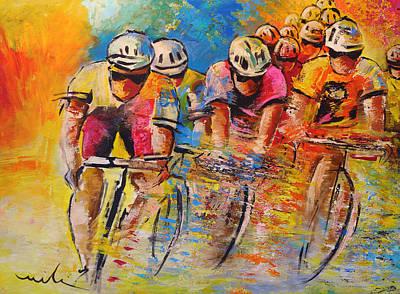 Extreme Sports Painting - Le Tour De France 03 Acrylics by Miki De Goodaboom