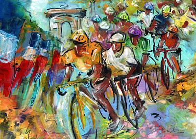 Sports Paintings - Le Tour De France Madness 02 by Miki De Goodaboom
