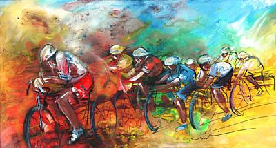 Sports Paintings - Le Tour De France Madness 05 by Miki De Goodaboom