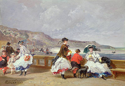 Le Treport, 1867 Oil On Canvas Print by Jules Achille Noel