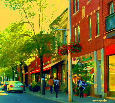 Outremont Painting - Le Trio French Speciality Shops Fleuriste Patissier Chocolatier Montreal Street Scene Carole Spandau by Carole Spandau