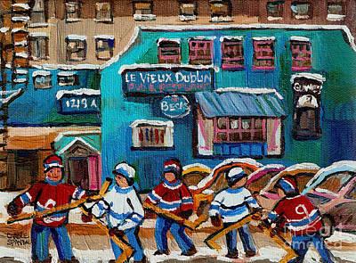 After School Hockey Painting - Le Vieux Dublin Pub And Restaurant by Carole Spandau