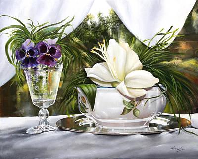 Le Viole Nel Bicchiere Art Print by Danka Weitzen