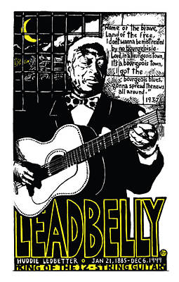 Leadbelly Art Print by Ricardo Levins Morales