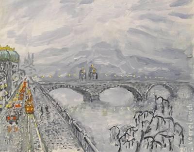 Tram Red Painting - Leaden Winter In Golden Prague  by Victor Berelovich