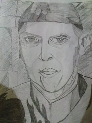 Mohammad Drawing - Leader Of Pakistan by Iffat Raza
