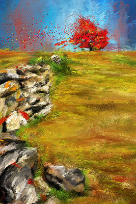 Maple Leaf Art Painting - Leading Red - Autumn Impressionist by Lourry Legarde