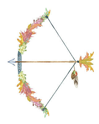 Leaf Bow And Arrow Print by Amy Cummings
