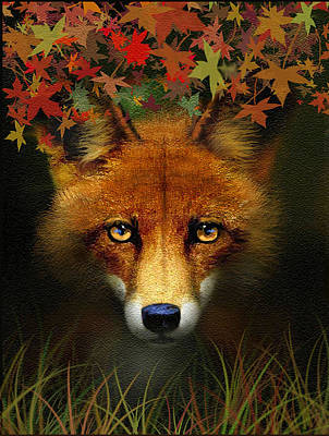 Fallen Leaf Digital Art - Leaf Fox by Robert Foster