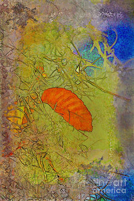 Leaf In The Moss Print by Deborah Benoit