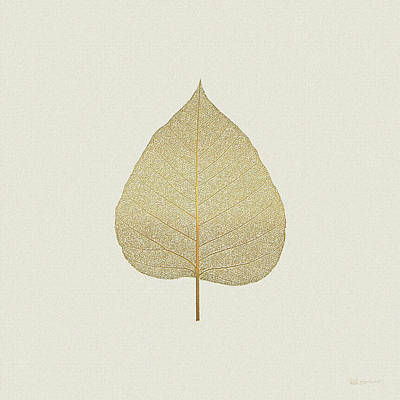 Leaf Veins Skeleton - Leaf Structure In Gold On Linen  Original