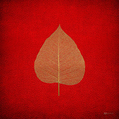 Red Leaf Digital Art - Leaf Veins Skeleton - Leaf Structure In Gold On Red by Serge Averbukh