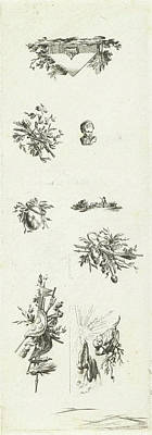 Flower Child Drawing - Leaf With Eight Vignettes, Willem Bilderdijk by Willem Bilderdijk
