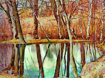 Painting - Leafless Woods Reflection - Horizontal I by Lyn Voytershark