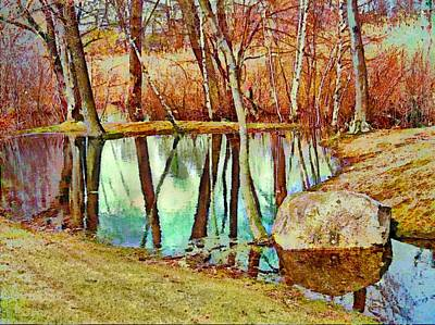 Painting - Leafless Woods Reflection - Horizontal II  by Lyn Voytershark