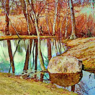 Painting - Leafless Woods Reflection - Square by Lyn Voytershark