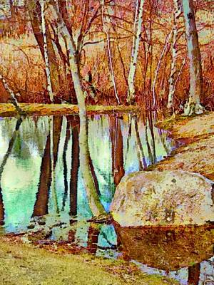 Painting - Leafless Woods Reflection - Vertical by Lyn Voytershark