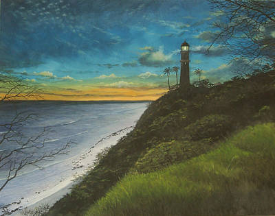 Diamondhead Painting - Leahi Lighthouse by Wallace Kong