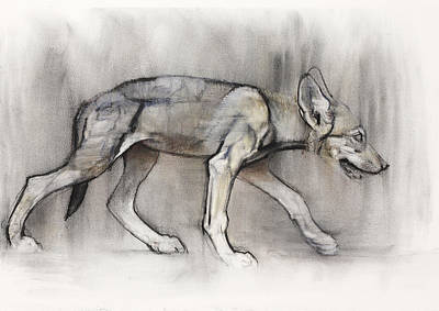 Wolf Pup Painting - Lean Pup by Mark Adlington